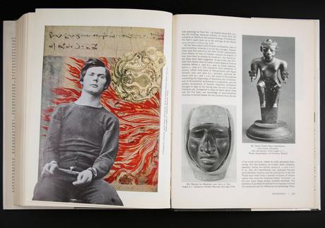 Book Number 15, Janson's History of Art, Revised, 1970 Unique artist book with collage. 11 3/8 x 8 7/8 x 2 inches