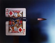 Bullet Through Jack of Diamonds, 1938-1973 Dye transfer print 16 x 20 inches