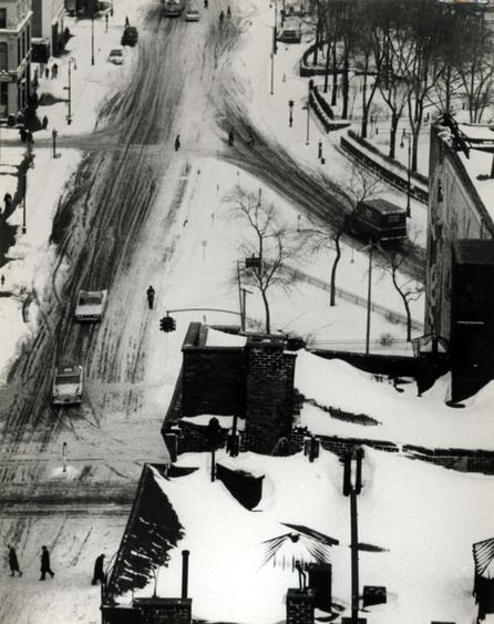 Snow Covered Streets and Roof Tops, January 30, 1961 Gelatin silver print, printed c. 1961