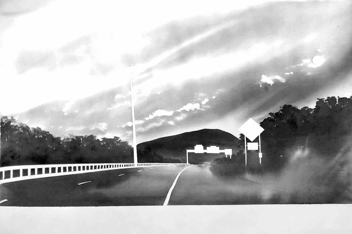 Route 116, Near Sunderland, Massachusetts(from 100 Views Along the Road), 1983 Large-format watercolor on paper 44 x 58 inches