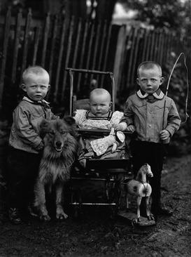August Sander Farm Children, c. 1913     Gelatin silver print mounted to board, printed c. 1990. 9 15/16 x 7 1/2 in