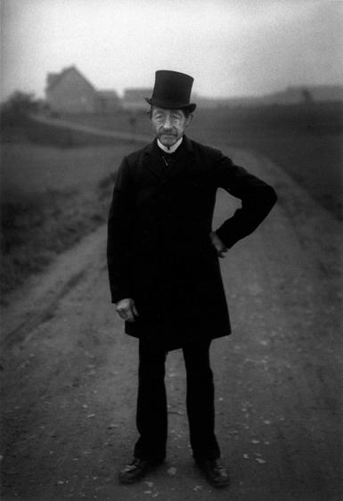 August Sander Farmer on His Way to Church, 1925-1926     Gelatin silver print mounted to board, printed c. 1990. 10 1/4 x 6 1/2 in.