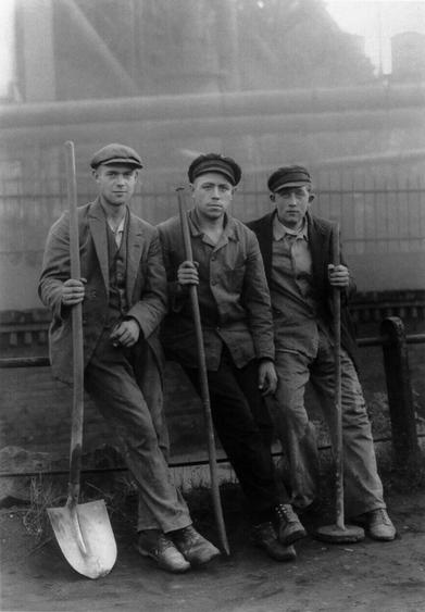 August Sander Workmen in the Ruhr, c. 1928     Gelatin silver print mounted to board, printed c. 1990. 10 3/16 x 7 3/16 in.