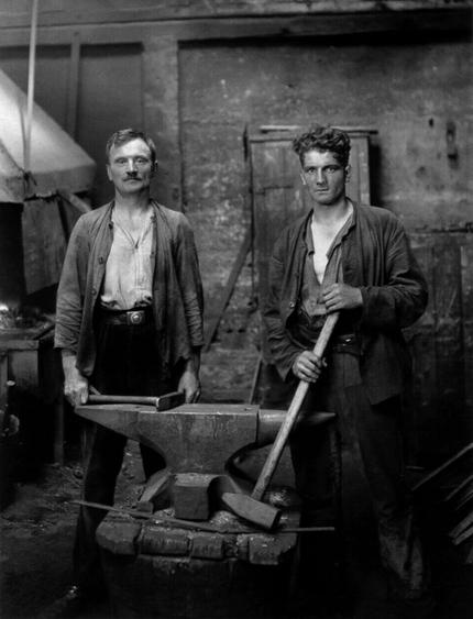 August Sander Blacksmiths, 1926     Gelatin silver print mounted to board, printed c. 1990. 10 1/4 x 7 7/8 in.