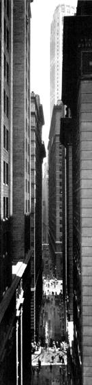 Exchange Place, New York, c. 1934 Gelatin silver print mounted to board. 19 x 4 3/4 inches