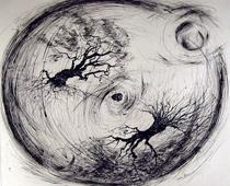Acorn Round, 1961 Ink on paper 18 x 21 1/2 inches
