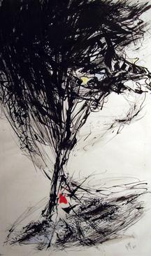 Updraft, 1960 Ink and watercolor on paper 16 x 10 inches