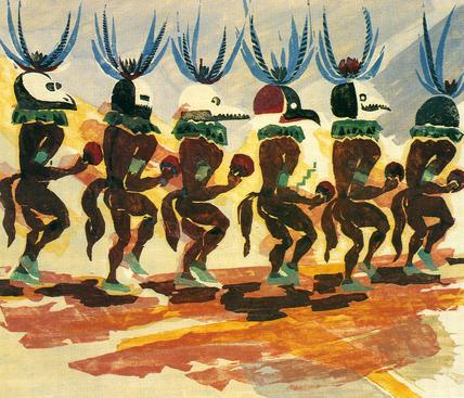 Rain Dancers, 1931 Colored woodcut. 14 5/8 x 17 3/8 inches