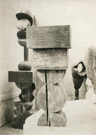 View of the Studio: Socrates & Adam and Eve, c. 1922 Gelatin silver print, printed c. 1922. 11 x 7 13/16 inches