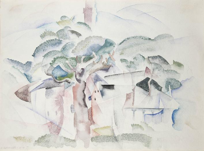 Charles Demuth  Trees and Houses (Provincetown), 1916    Watercolor and graphite on paper. 9 3/4 x 13 1/4 inches