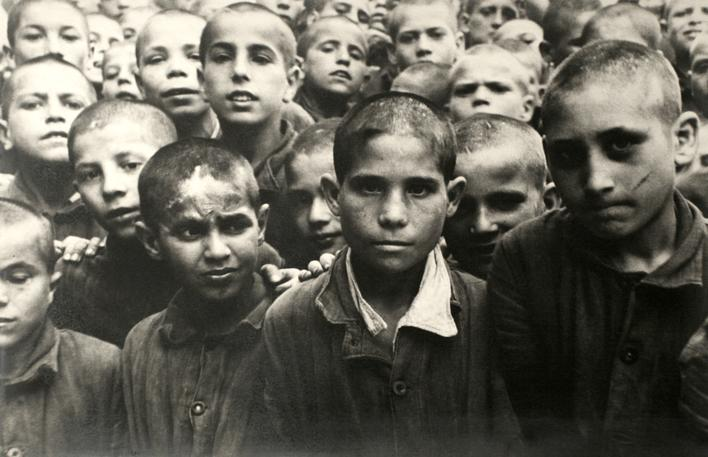 The Post War Years: The Children- Boys in a War Orphanage in Naples, Italy, 1948 Gelatin silver exhibition print mounted to aluminum 36 x 24 inches