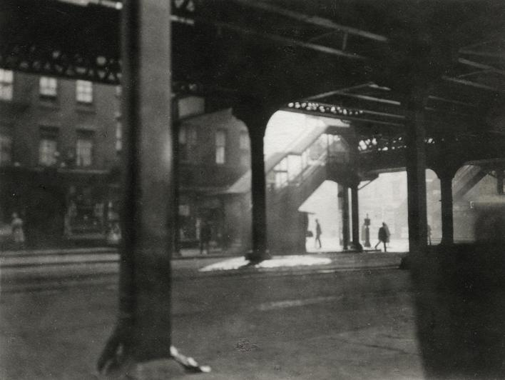 """L"" at Third Avenue, 1921 Gelatin silver print, printed c. 1921 3 1/2 x 4 1/2 inches"