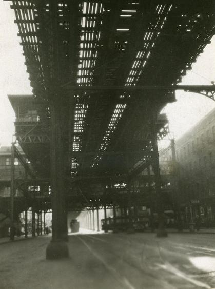 """L"" Train, 1921 Gelatin silver print, printed c. 1921 4 x 3 inches"