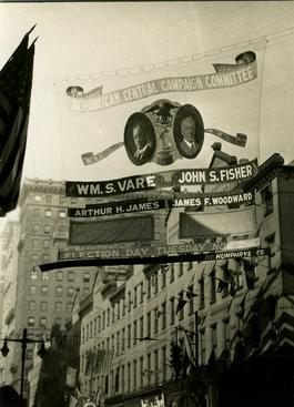 Election Signs, Philadelphia, Pennsylvania, 1926 Gelatin silver print, printed c. 1926 4 x 3 inches