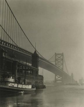 Bridge and Ferry, Philadelphia, 1926 Gelatin silver print, printed c. 1926 7 1/4 x 5 3/4 inches