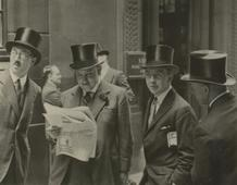 Rendez Vous at the London Stock Exchange, c. 1937 Gelatin silver print, printed c. 1937 4 1/4 x 5 1/2 inches