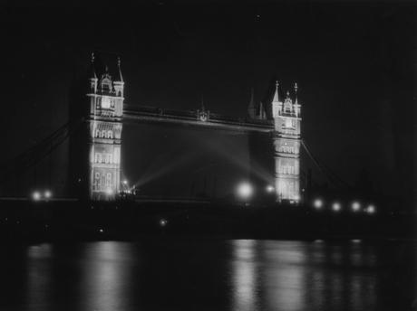 Tower Bridge at Night, c. 1933 Gelatin silver print, printed c. 1933 6 3/4 x 8 3/4 inches