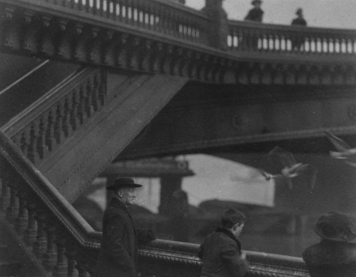 Bridge with People and Birds, London, c. 1910 Gelatin silver print, printed c. 1910 3 1/2 x 4 1/2 inches