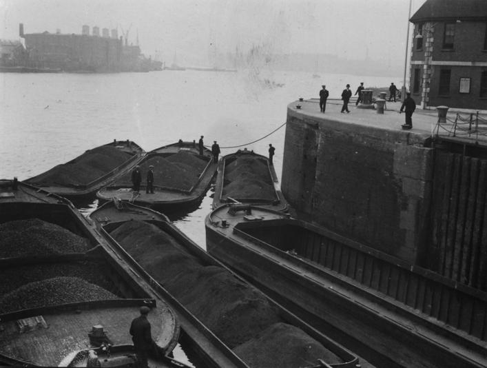 Coal Barges on the River Thames, London, c. 1934 Gelatin silver print, printed c. 1934 3 1/4 x 4 1/2 inches