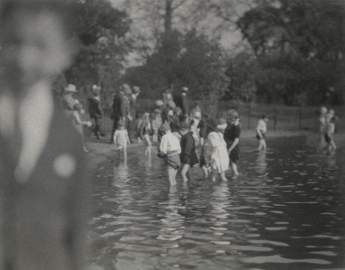 Children Bathing in the Serpentine, London, c. 1910 Gelatin silver print, printed c. 1910 3 1/2 x 4 1/2 inches