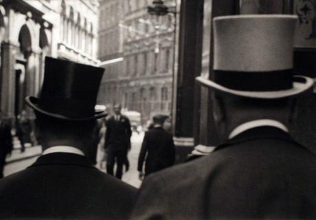 Two Men on Throgmorton Street, London, c. 1929 Gelatin silver print, printed c. 1929 4 x 5 1/2 inches