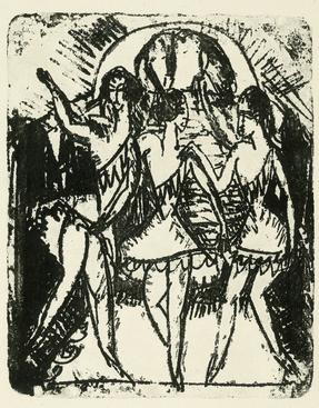 Ernst Ludwig Kirchner Three Dancers, 1912 Lithograph. 10 1/2 x 8 1/2 inches