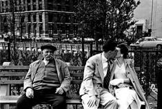 Battery Park Bench, New York City, 1955 Gelatin silver exhibition print mounted to board, printed c. 1955 11 1/4 x 16 1/2 inches