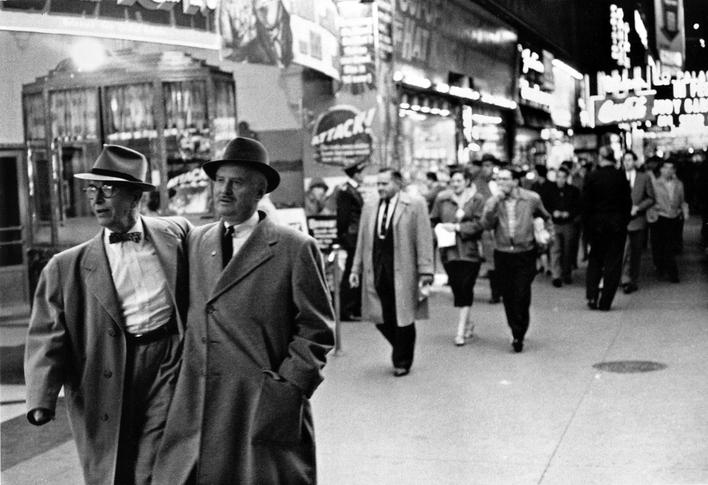 On the Town, Times Square, New York City, 1954 Gelatin silver print mounted to board, printed c. 1954 9 1/4 x 13 1/2 inches
