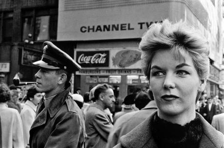 Woman in Front of Channel Two, Times Square, New York City, 1956 Gelatin silver print, printed later 11 x 14 inches