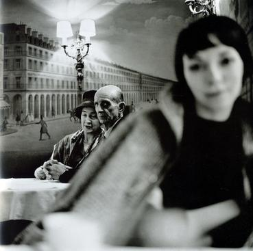 Old Couple and Young Woman at Cafe, 1961 Gelatin silver print, printed c. 1970s 20 x 16 inches