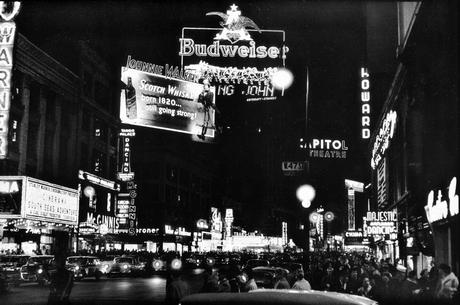 Budweiser Sign, Times Square, New York City, 1956 Gelatin silver print mounted to board, printed later 16 x 20 inches