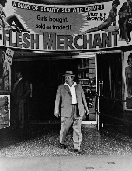 Flesh Merchant, New York City, 1956 Gelatin silver print mounted to board, printed c. 1956 13 5/8 x 10 3/8 inches