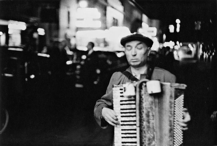 Blind Man Playing Accordion, Times Square, New York City, 1954 Gelatin silver print mounted to board, printed c. 1954 11 x 14 inches