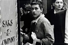 Surprised Woman at Saks, New York City, 1956 Gelatin silver print mounted to board 8 3/4 x 13 1/4 in. (22.2 x 33.7 cm) p.p1 {margin: 0.0px 0.0px 0.0px 0.0px; font: 10.0px Helvetica}