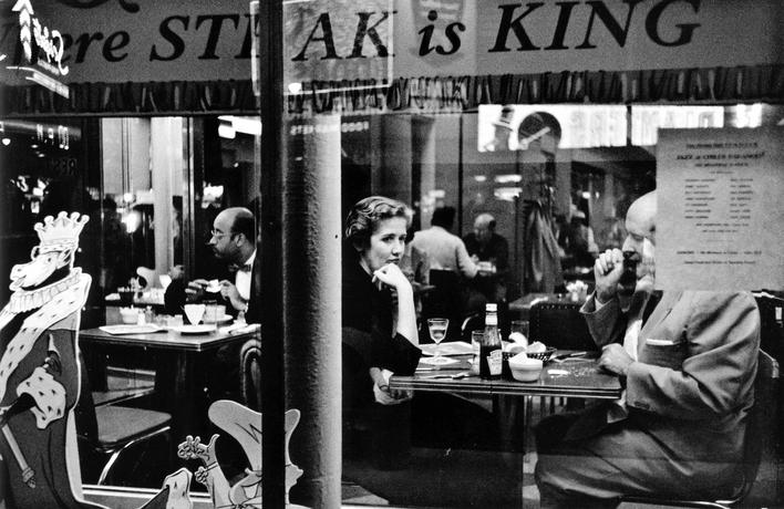 Couple in Cafe Window, Times Square, New York City, 1955 Gelatin silver print 8 x 13 in. (22 x 34 cm)