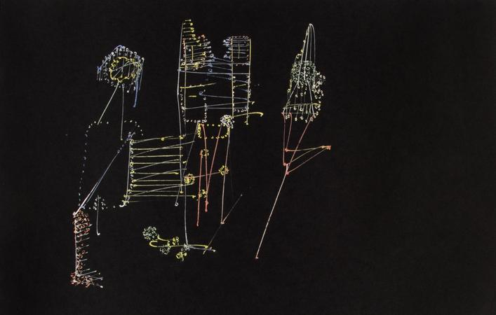 Frederick Sommer Untitled, 1950 Glue color drawing on paper 12 x 18 1/2 inches (30.5 x 47 cm)