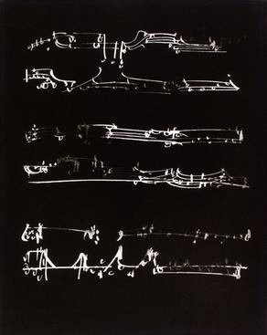 Frederick Sommer  Untitled (Musical Score Glue Color Drawing on Paper), 1954 9 3/4 x 7 3/4 in.