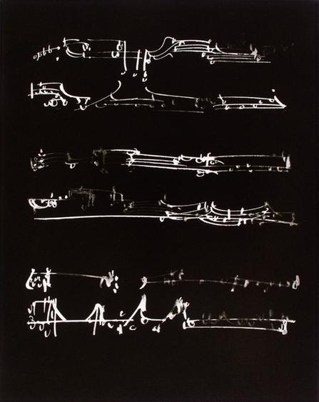 Frederick Sommer Untitled (Musical Score Glue Color Drawing on Paper),1954 9 3/4 x 7 3/4 in.