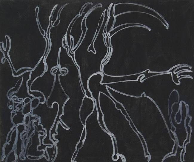 Frederick Sommer, Untitled, 1946     Glue tempera on canvas, 42 1/4 x 50 1/4 inches
