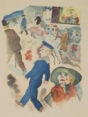 George Grosz Passers-By, 1921 Color offset print on cream Velin paper. 10 3/8 x 7 7/8 inches