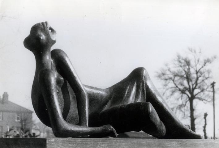Reclining Figure #4, 1954-55 Gelatin silver print on carte postal, printed c. 1954-55 6 3/4 x 9 3/4 inches