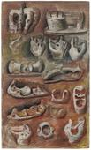 Henry Moore (1898-1986) Ideas for Sculpture, 1940     Crayon, pastel, pencil, chalk, watercolor, pen and India ink on woven paper 17 x 10 in. (43.2 x 25.4 cm)