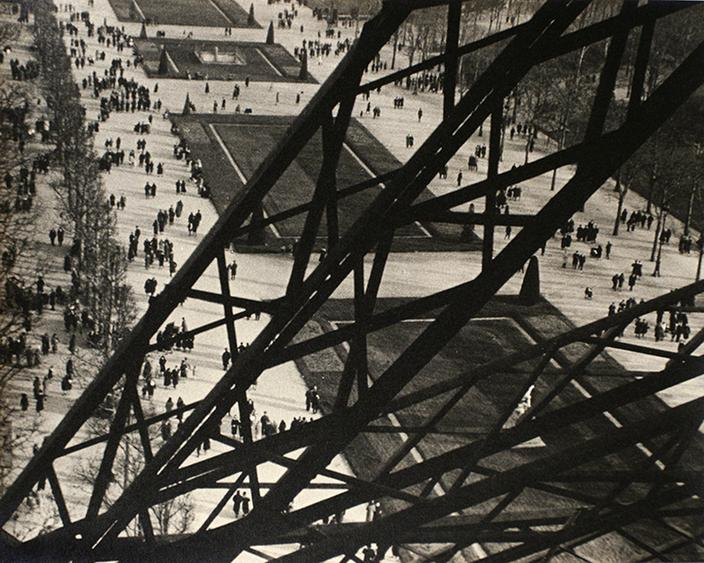Tour Eiffel, Paris, 1931 Gelatin silver print mounted to original scrap board, printed c. 1931 8 7/8 x 11 1/8 inches