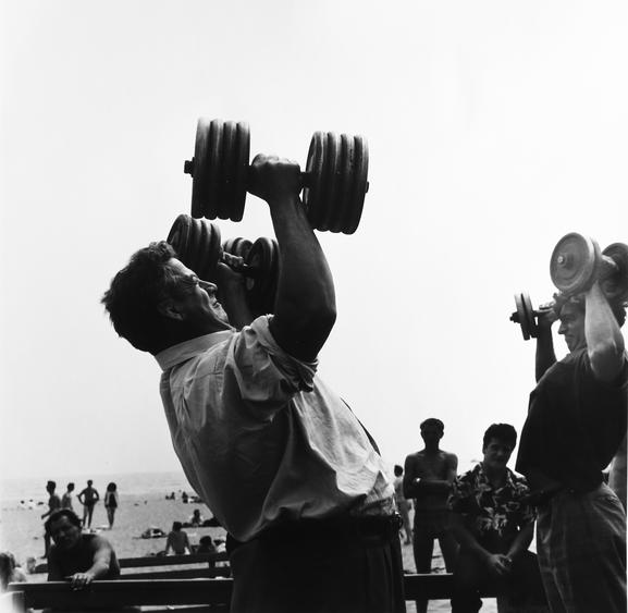 Man with Dumb-bells, Muscle Beach, Santa Monica, CA, 1954 Gelatin silver print, printed 2011 15 x 15 1/8 in. (38.1 x 38.4 cm) Signed on verso $4,000 Inquire