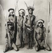 Five Okapa Warriors, 1972 Platinum-palladium print 19 5/8 x 19 1/2 inches