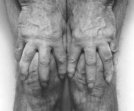 Hands Spread on Knees, 1985 Gelatin silver print mounted to board, printed c. 1990s 36 x 41 1/2 inches