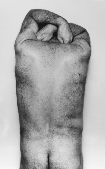 Back and Hands, 1984 Gelatin silver print mounted to board. 34 x 27 1/2 inches