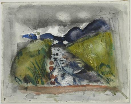 John Marin  Looking Toward Mount Washington, White Mountains, Ammonoosuc River, 1924    Watercolor on paper. 13 x 16 3/4 inches