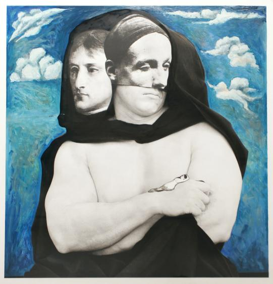 France et le monde, 2011 Gelatin silver print with hand painting mounted to board. 31 1/4 x 28 3/4 inches