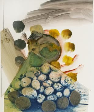 Potato Pile, Ithaca NY, 1993 Cyanotype, pigment paste, graphite mounted to board. 20 x 16 inches